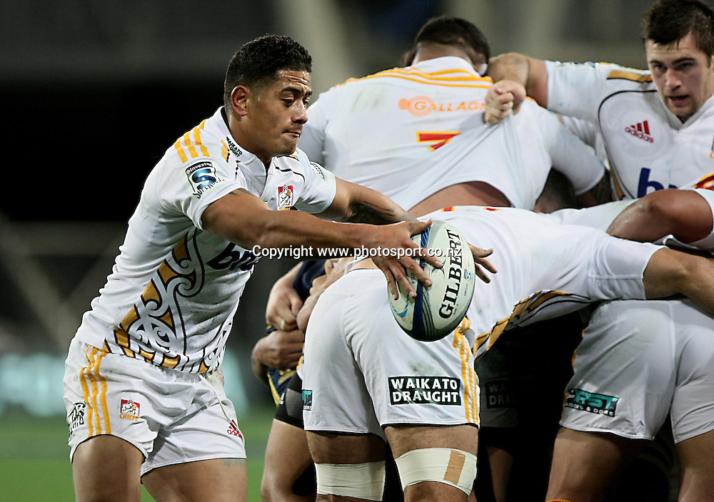 Augustine Pulu of the Chiefs gets the ball away in the Super 15 rugby match, Highlanders v Chiefs, Forsyth Barr Stadium, Dunedin, New Zealand, Friday, June 27, 2014. Photo: Dianne Manson / www.photosport.co.nz