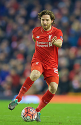 LIVERPOOL, ENGLAND - Wednesday, January 20, 2016: Liverpool's Joe Allen in action against Exeter City during the FA Cup 3rd Round Replay match at Anfield. (Pic by David Rawcliffe/Propaganda)