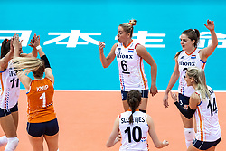 16-10-2018 JPN: World Championship Volleyball Women day 17, Nagoya<br /> Netherlands - China 1-3 / Anne Buijs #11 of Netherlands, Kirsten Knip #1 of Netherlands, Maret Balkestein-Grothues #6 of Netherlands, Yvon Belien #3 of Netherlands, Laura Dijkema #14 of Netherlands