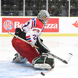 COBOURG, - Dec 18, 2015 -  WJAC Game 11- Team Czech Republic vs Team Switzerland at the 2015 World Junior A Challenge at the Cobourg Community Centre, ON. Dominik Groh #2 of Team Czech Republic makes the save during the third period.<br /> (Photo: Andy Corneau / OJHL Images)