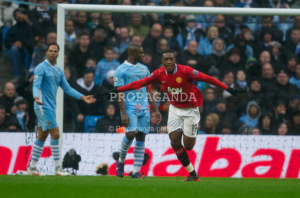 MANCHESTER, ENGLAND - Sunday, January 8, 2012: Manchester United's Danny Welbeck celebrates scoring the second goal against Manchester City during the FA Cup 3rd Round match at the City of Manchester Stadium. (Pic by David Rawcliffe/Propaganda)