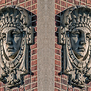 Photographic series of digital computer art from an image of Carved face in stone mirrored back to back.<br /> <br /> Two layers were used, first one mirrored and fliped to second one, to enhance, alter, manipulate the image, creating an abstract surrealistic mirrored symmetry.