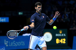 Novak Djokovic in action against David Goffin during day five of the Barclays ATP World Tour Finals at The O2, London.