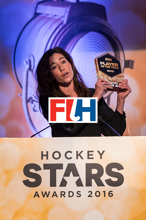 CHANDIGARH, INDIA - FEBRUARY 23: Winner of the FIH Female Player of the Year Naomi Van As of Netherlands speaks during the FIH Hockey Stars Awards 2016 at Lalit Hotel on February 23, 2017 in Chandigarh, India. (Photo by Ali Bharmal/Getty Images for FIH)
