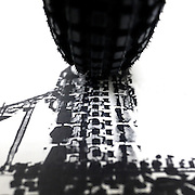Architectural Landmarks Created with Bicycle Tire Tracks<br /> <br /> Thomas Yang used the prints from bicycle tire treads to create a poster of the Empire State Building. Yang has since explored three additional landmarks around the world that merge his passion for cycling and architecture including depictions of the Eiffel Tower, the Tower Bridge, and China's Forbidden City.<br /> ©Thomas Yang/Exclusivepix