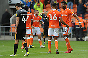 Blackpool Defender, Curtis Tilt (16) goal scorer of the winner celebrates with Blackpool Defender, Michael Nottingham (12) during the EFL Sky Bet League 1 match between Blackpool and Bradford City at Bloomfield Road, Blackpool, England on 8 September 2018.