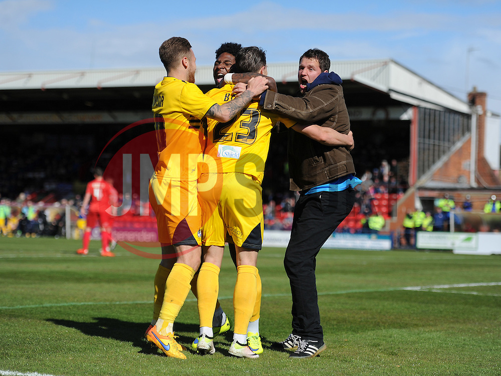 Billy Bodin of Bristol Rovers celebrates with a fan. - Mandatory by-line: Alex James/JMP - 30/04/2016 - FOOTBALL - Bootham Crescent - York, England - York City v Bristol Rovers - Sky Bet League Two