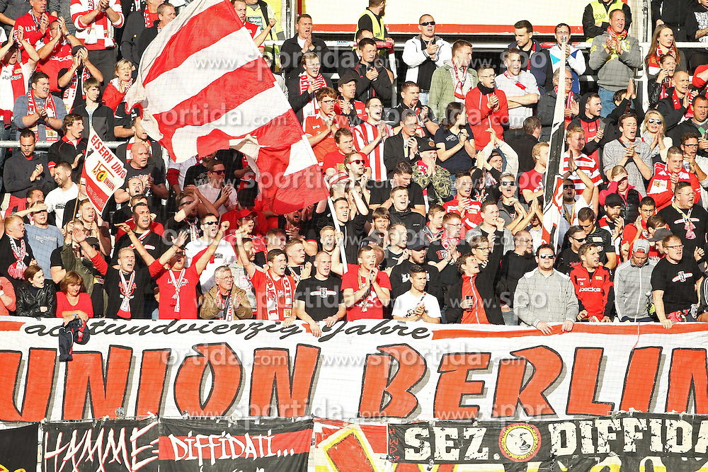 24.09.2014, Fritz Walter Stadion, Kaiserslautern, GER, 2. FBL, 1. FC Kaiserslautern vs 1. FC Union Berlin, 7. Runde, im Bild Fanblock von Union Berlin, Emotionen // during the 2nd German Bundesliga 7th round match between 1. FC Kaiserslautern and 1. FC Union Berlin at the Fritz Walter Stadion in Kaiserslautern, Germany on 2014/09/24. EXPA Pictures &copy; 2014, PhotoCredit: EXPA/ Eibner-Pressefoto/ Neis<br /> <br /> *****ATTENTION - OUT of GER*****