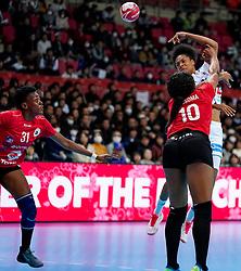 08-12-2019 JAP: Angola - France, Kumamoto<br /> First round President's Cup match Angola - France (17-28) at 24th IHF Women's Handball World Championship. / Albertina Kassoma #10 of Angola, Oceane Sercien Ugolin #19 of France