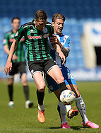 Matthew Lund of Rochdale does battle with George Moncur of Colchester United during the Sky Bet League 1 match between Colchester United and Rochdale at the Weston Homes Community Stadium, Colchester<br /> Picture by Richard Blaxall/Focus Images Ltd +44 7853 364624<br /> 08/05/2016