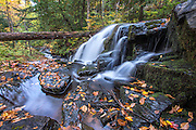 UPPER PENINSULA - MICHIGAN - OCTOBER 2015: West Branch Yellow Dog Falls on the Yellow Dog River in the McCormick Wilderness. Photos created on an October camping trip to the upper peninsula of Michigan in 2015. (Photo by Bryan Mitchell)