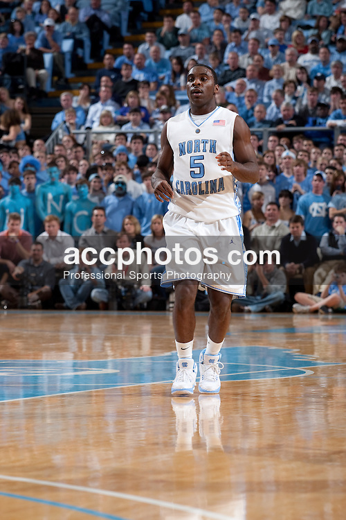 03 February 2009: North Carolina Tar Heels guard Ty Lawson (5) during a 108-91 win over the Maryland Terrapins at the Dean Smith Center in Chapel Hill, NC.