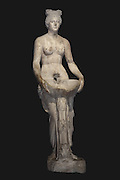 Statue of a nymph with a basin, 2nd century AD, from the Roman spa complex of Allianoi, at the Archaeological Museum of Bergama, Izmir, Turkey.  The ruins at Allianoi were engulfed with the building of the Yortanli Dam across the Ilya river in 2010 when a huge reservoir was formed over this area. This statue became the poster girl for the unsuccessful campaign to protect Allianoi. Picture by Manuel Cohen