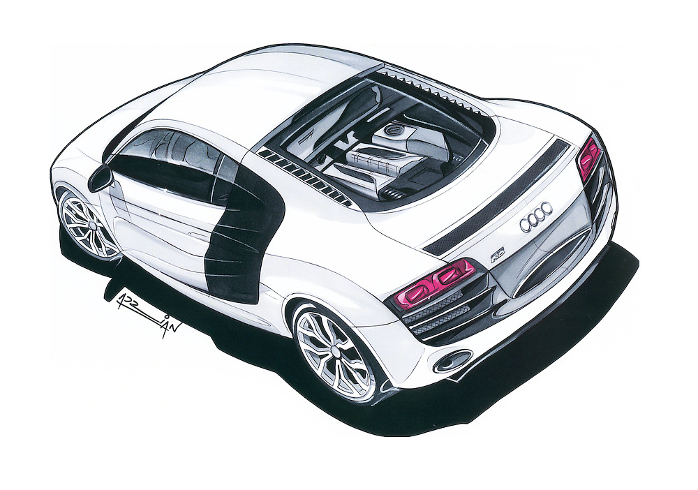 Audi R Adrian Dewey Photography - Audi car drawing