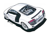 Car art marker drawing of Audi R8. Rear quarter view by Adrian Dewey. Done in Letraset markers on bleedproof paper