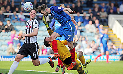 Gwion Edwards of Peterborough United heads the ball past Josh Lillis of Rochdale but his goal is ruled out for offside - Mandatory by-line: Joe Dent/JMP - 14/04/2018 - FOOTBALL - ABAX Stadium - Peterborough, England - Peterborough United v Rochdale - Sky Bet League One