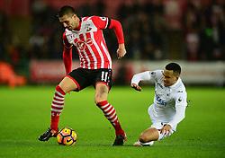 Dusan Tadic of Southampton tackles Martin Olsson of Swansea City - Mandatory by-line: Alex James/JMP - 31/01/2017 - FOOTBALL - Liberty Stadium - Swansea, England - Swansea City v Southampton - Premier League