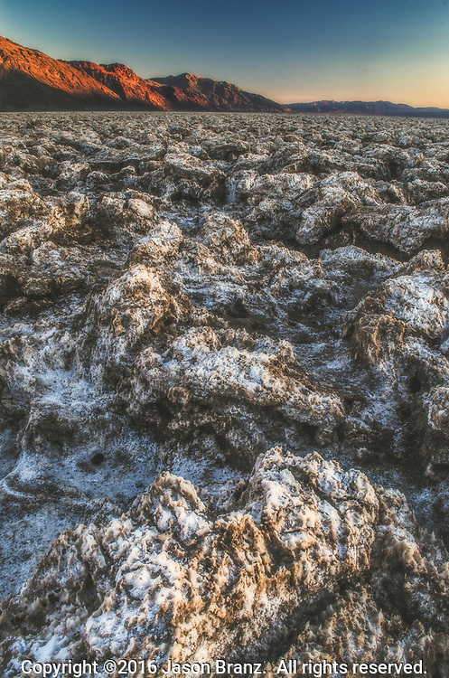Bizarre salt formations of the Devil's Golf Course in Death Valley National Park, California.