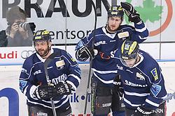 12.04.2015, Saturn Arena, Ingolstadt, GER, DEL, ERC Ingolstadt vs Adler Mannheim, Playoff, Finale, 2. Spiel, im Bild Jubel nach dem Treffer zum 2:0 - Thomas Greilinger (Nr.39, ERC Ingolstadt), Torschuetze Brandon Buck (Nr.9, ERC Ingolstadt) und Petr Taticek (Nr.17, ERC Ingolstadt) // during Germans DEL Icehockey League 2nd final match between ERC Ingolstadt and Adler Mannheim at the Saturn Arena in Ingolstadt, Germany on 2015/04/12. EXPA Pictures © 2015, PhotoCredit: EXPA/ Eibner-Pressefoto/ Strisch<br /> <br /> *****ATTENTION - OUT of GER*****