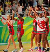 11th April 2018, Gold Coast Convention and Exhibition Centre, Gold Coast, Australia; Commonwealth Games day 7; Netball, England versus New Zealand; English players applaud the crowd after they defeated New Zealand for the first time ever at the Commonwealth Games