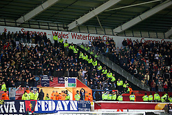SWANSEA, WALES - Thursday, February 20, 2014: SSC Napoli supporters during the UEFA Europa League Round of 32 1st Leg match against Swansea City at the Liberty Stadium. (Pic by David Rawcliffe/Propaganda)