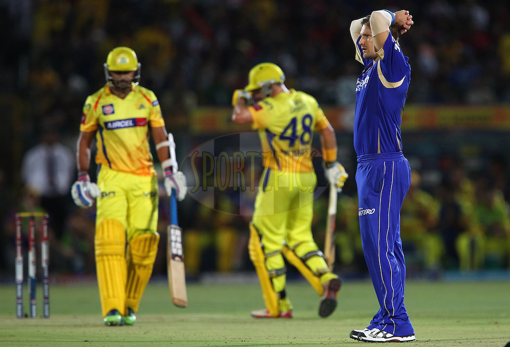 Shane Watson reacts after bowling  during match 61 of the Pepsi Indian Premier League ( IPL) 2013  between The Rajasthan Royals and the Chennai SUperkings held at the Sawai Mansingh Stadium in Jaipur on the 12th May 2013..Photo by Ron Gaunt-IPL-SPORTZPICS ..Use of this image is subject to the terms and conditions as outlined by the BCCI. These terms can be found by following this link:..http://www.sportzpics.co.za/image/I0000SoRagM2cIEc