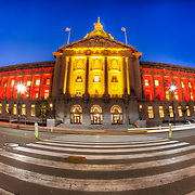 Fisheye lens photo of San Francisco City Hall from Polk Street on the edge of the Civic Center Historic District.