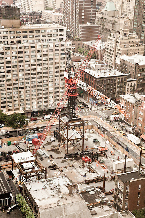 Bird's eye view from east on construction site 250 W 55th Street, New York<br /> <br /> September 21st, 2011