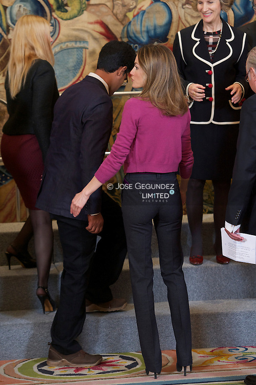 Princess Letizia attends an Audience to a representation of the Fundacion Cesar Serrano Egido and the Museum of the Word at Zarzuela Palace in Madrid