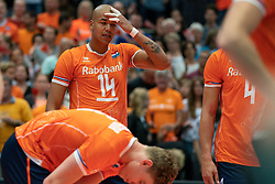 11-08-2019 NED: FIVB Tokyo Volleyball Qualification 2019 / Netherlands - USA, Rotterdam<br /> Final match pool B in hall Ahoy between Netherlands vs. United States (1-3) and Olympic ticket  for USA / Nimir Abdelaziz #14 of Netherlands