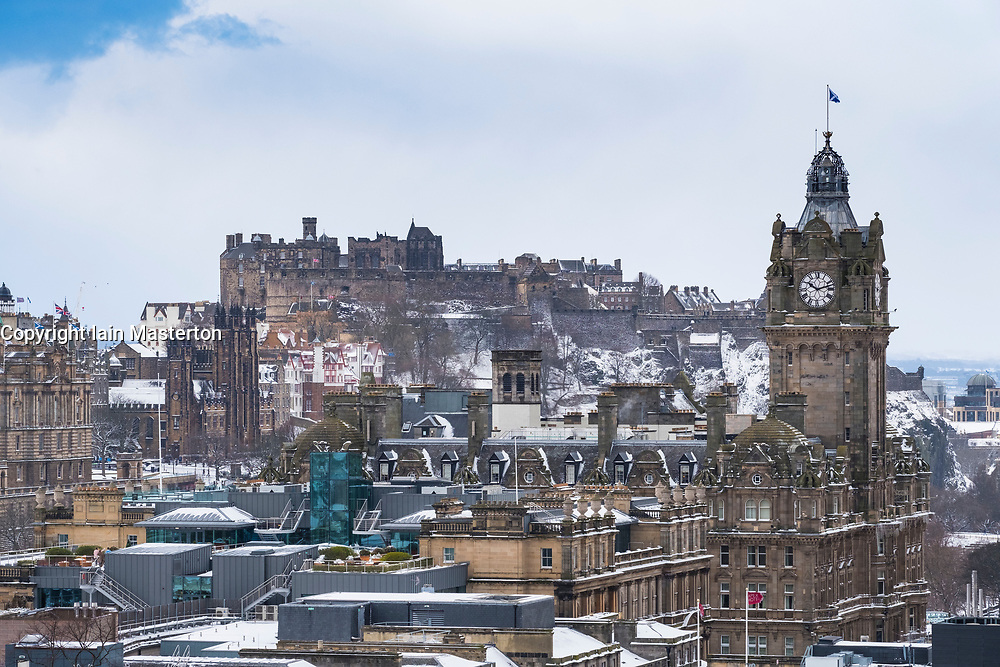 View of Edinburgh Castle and Balmoral Hotel from Calton Hill over city of Edinburgh after heavy snow falls , Scotland, United Kingdom