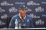 Matt Kuchar looking down and sad after not winning during his press media conference<br /> On the final day<br /> <br /> The 146th Open Championship, Royal Birkdale, Lancashire, UK <br /> <br /> Picture Credit: Mark Newcombe/visionsingolf.com