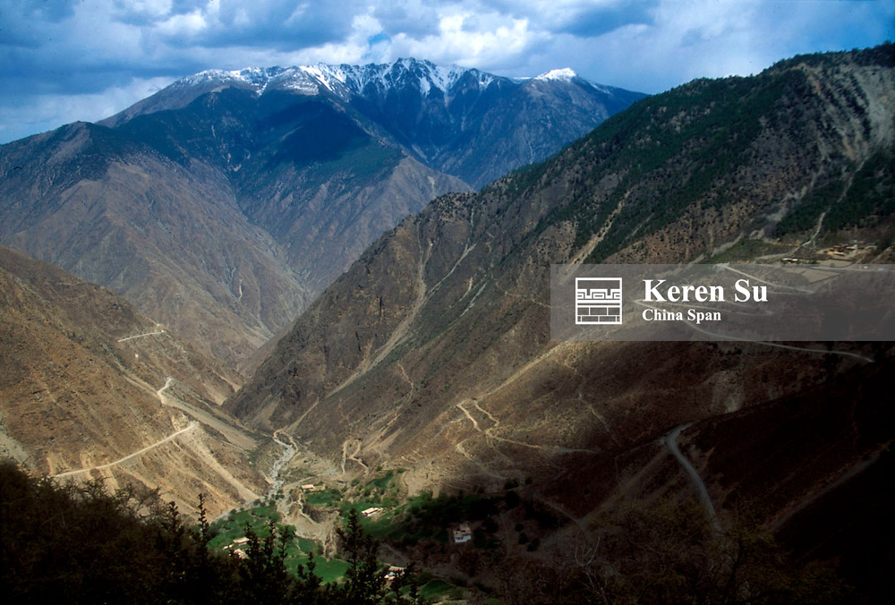 Highway built in the mountain of upper reaches of Mekong (Lancang) River Valley, Eastern Tibet, China