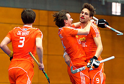 LEIZPIG - WC HOCKEY INDOOR 2015<br /> NED v POL (Pool B)<br /> Foto:de WERT Sjoerd ,  van de PEPPEL Robbert and KELLERMAN Bjorn<br /> FFU PRESS AGENCY COPYRIGHT FRANK UIJLENBROEK