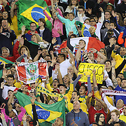 FOXBOROUGH, MASSACHUSETTS - JUNE 12: Peru and Brazil supporters in the crowd during the Brazil Vs Peru Group B match of the Copa America Centenario USA 2016 Tournament at Gillette Stadium on June 12, 2016 in Foxborough, Massachusetts. (Photo by Tim Clayton/Corbis via Getty Images)
