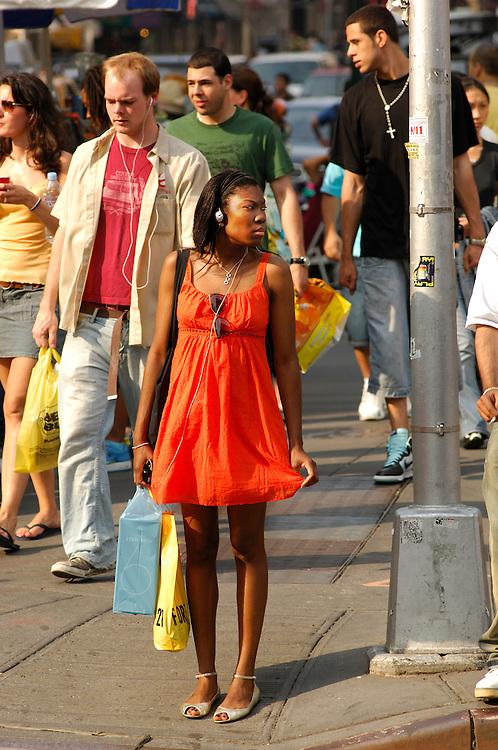 People, Houston Street / Broadway, Lower East Side, Manhattan, New York, New York, USA.