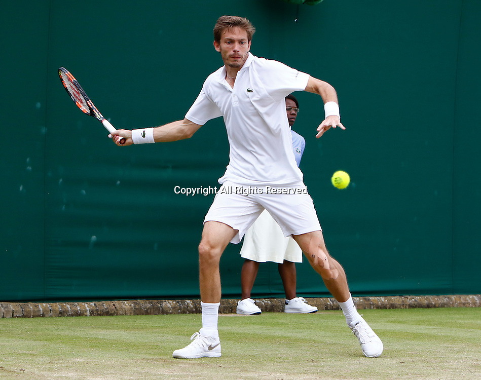 04.07.2016. All England Lawn Tennis and Croquet Club, London, England. The Wimbledon Tennis Championships Day 8.  Nicolas Mahut (FRA) hits a forehand during his singles match against Sam Querry (USA).