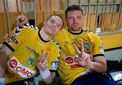 Robert Konecnik and Rok Praznik at MIK First league Handball match between RK Cimos Koper and RD Slovan, on May 9, 2009, in SRC Bonifika, Koper, Slovenia.  (Photo by Vid Ponikvar / Sportida)