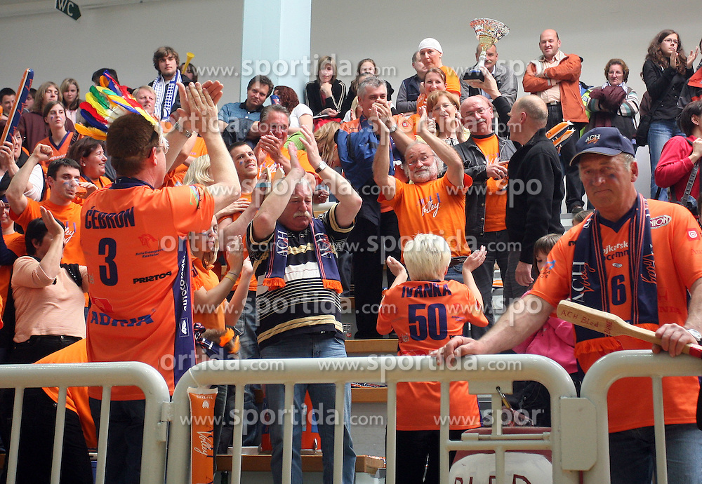 Herman Rigelnik, general manager of Autocommerce with a cup among fans of ACH Volley after 4th and final match of Slovenian Voleyball  Championship  between OK Salonit Anhovo (Kanal) and ACH Volley (from Bled), on April 23, 2008, in Kanal, Slovenia. The match was won by ACH Volley (3:1) and it became Slovenian Championship Winner. (Photo by Vid Ponikvar / Sportal Images)/ Sportida)