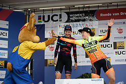 Chloe Hosking high fives the race mascot at Ronde van Drenthe 2018 - a 157.2 km road race on March 11, 2018, from Emmen to Hoogeveen, Netherlands. (Photo by Sean Robinson/Velofocus.com)