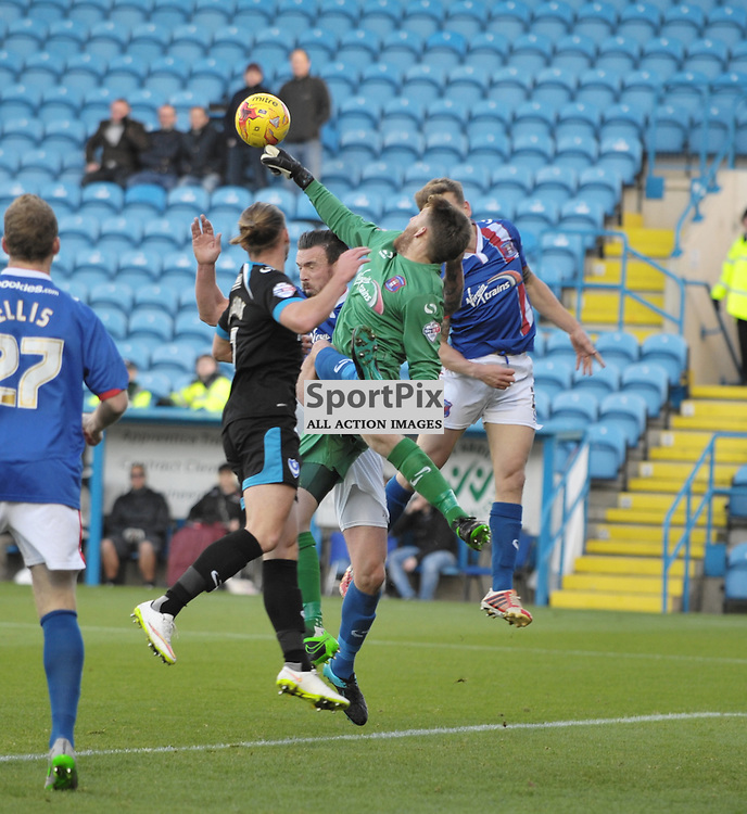 Mark Gillespie (Carlisle goalkeeper) clears a high ball<br /> <br /> Carlisle United v Portsmouth, SKY BET LEAGUE 2, 21st November 2015<br /> <br /> (c) Alex Todd | SportPix.org.uk