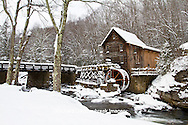 67395-04108 Glade Creek Grist Mill in winter, Babcock State Park, WV