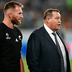 Kieran Read (c) of New Zealand (All Blacks) with Steve Hansen All Blacks Head Coach of New Zealand (All Blacks) during the New Zealand and Ireland Rugby World Cup  Quarter-Final at the Tokyo Stadium,376-3 Nishimachi, Chofu, Tokyo 182-0032 Saturday 19th October 2019. (Mandatory Byline -Steve Haag Sports Hollywoodbets)