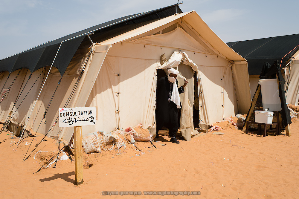 A tent that houses two consulting rooms and a small waiting area at a Médecins Sans Frontières (MSF) health centre at the Mbera camp for Malian refugees in Mauritania on 3 March 2013.