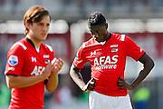 ALKMAAR - 23-08-15, AZ - Willem II, AFAS Stadion, 0-0, teleurstelling bij AZ speler Derrick Luckassen (r), AZ speler Joris van Overeem (l).