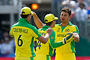 Wicket - Marcus Stoinis of Australia celebrates taking the wicket of Gulbadin Naib (c) of Afghanistan during the ICC Cricket World Cup 2019 match between Afghanistan and Australia at the Bristol County Ground, Bristol, United Kingdom on 1 June 2019.