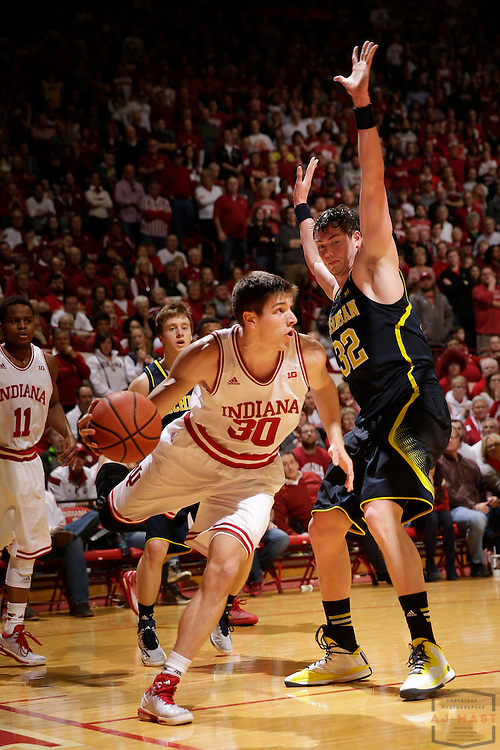 Indiana forward Collin Hartman (30) as Michigan played Indiana in an NCCA college basketball game in Bloomington, Ind., Sunday, Feb. 8, 2015. (AJ Mast / Photo))