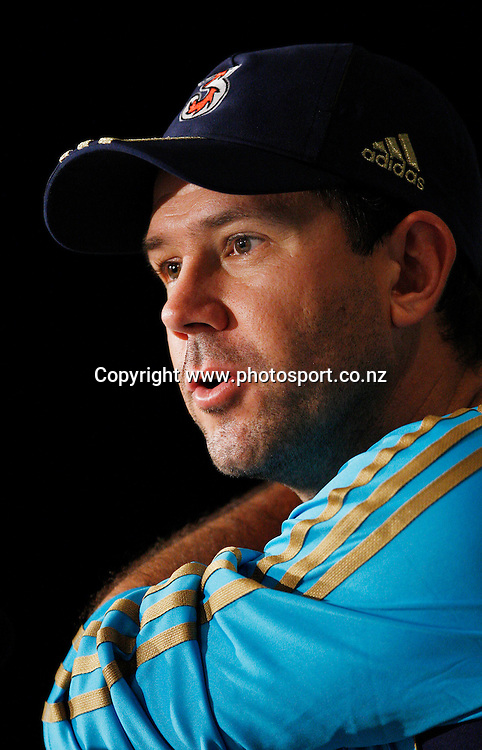 Australian cricket captain Ricky Ponting talks to the local media during a press conference ahead of the first test between Australia and New Zealand starting tomorrow at the Gabba. Brisbane, Australia. Thursday 19 November 2008. Pic: Andrew Cornaga / Photosport