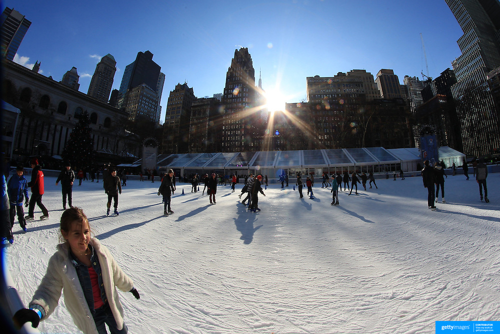 Ice skating at Bryant Park Ice Rink, Manhattan, New York, USA. Photo Tim Clayton