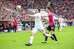 18.03.2017, Rhein Energie Stadion, Koeln, GER, 1. FBL, 1. FC Koeln vs Hertha BSC, 25. Runde, im Bild vl. Jonas Hector (FC Koeln, #14), Genki Haraguchi (Berlin, #24) // during the German Bundesliga 25th round match between 1. FC Cologne and Hertha BSC at the Rhein Energie Stadion in Koeln, Germany on 2017/03/18. EXPA Pictures © 2017, PhotoCredit: EXPA/ Eibner-Pressefoto/ Horn<br /> <br /> *****ATTENTION - OUT of GER*****